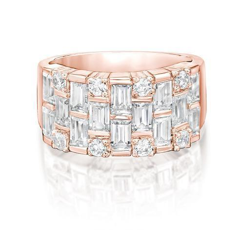 Statement Baguette Ring in Rose Gold