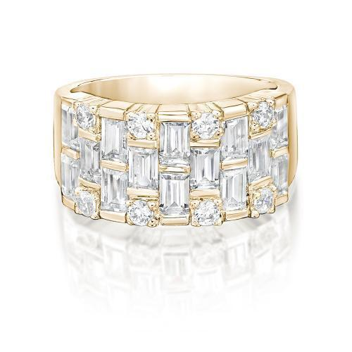 Statement Baguette Ring in Yellow Gold