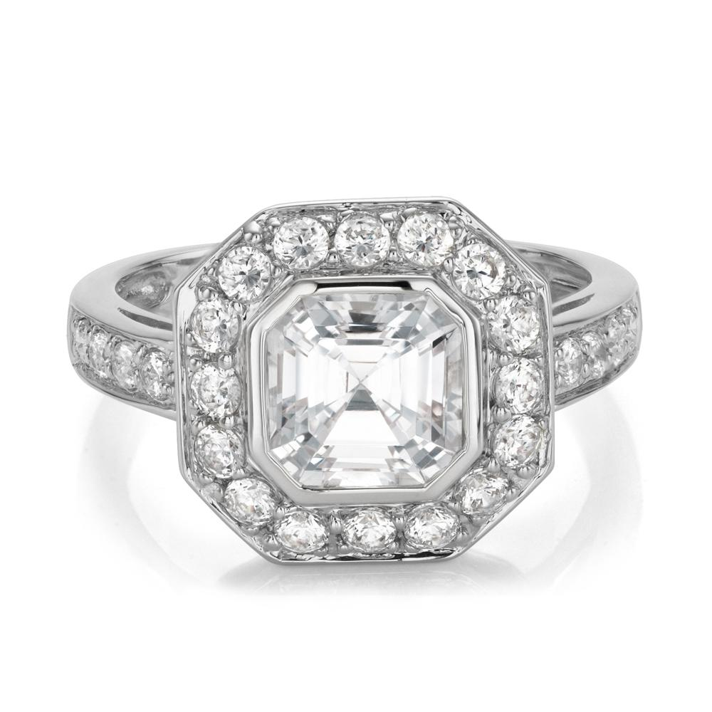 Asscher Cut Dress Ring in White Gold