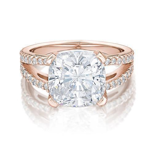 Cushion Cut Split Band Dress Ring in Rose Gold