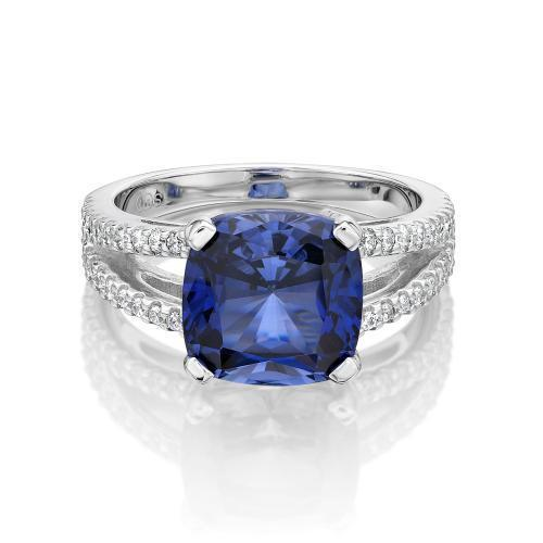 Cushion Cut Split Band Dress Ring - Ceylon Colour in White Gold