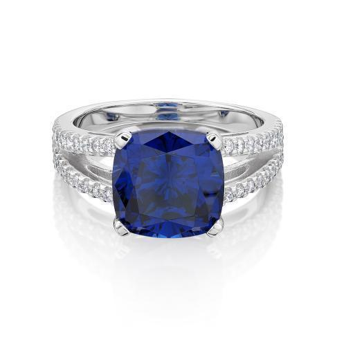 Cushion Cut Split Band Dress Ring - Tanzanite Colour in White Gold