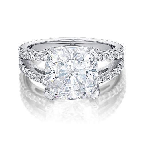 Cushion Cut Split Band Dress Ring in White Gold