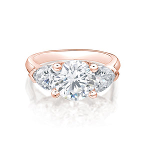 Round & Cushion Trilliant 3 Stone Ring in Rose Gold