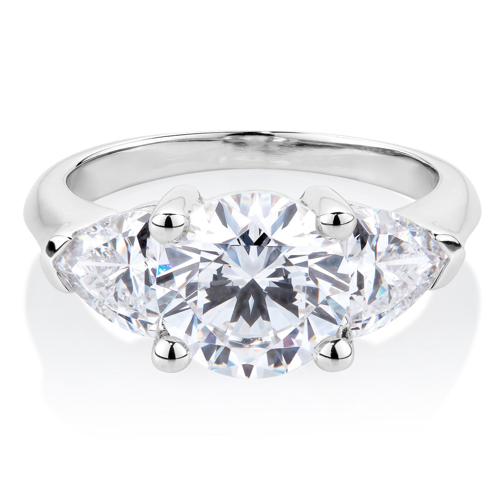 Round & Cushion Trilliant 3 Stone Ring in White Gold