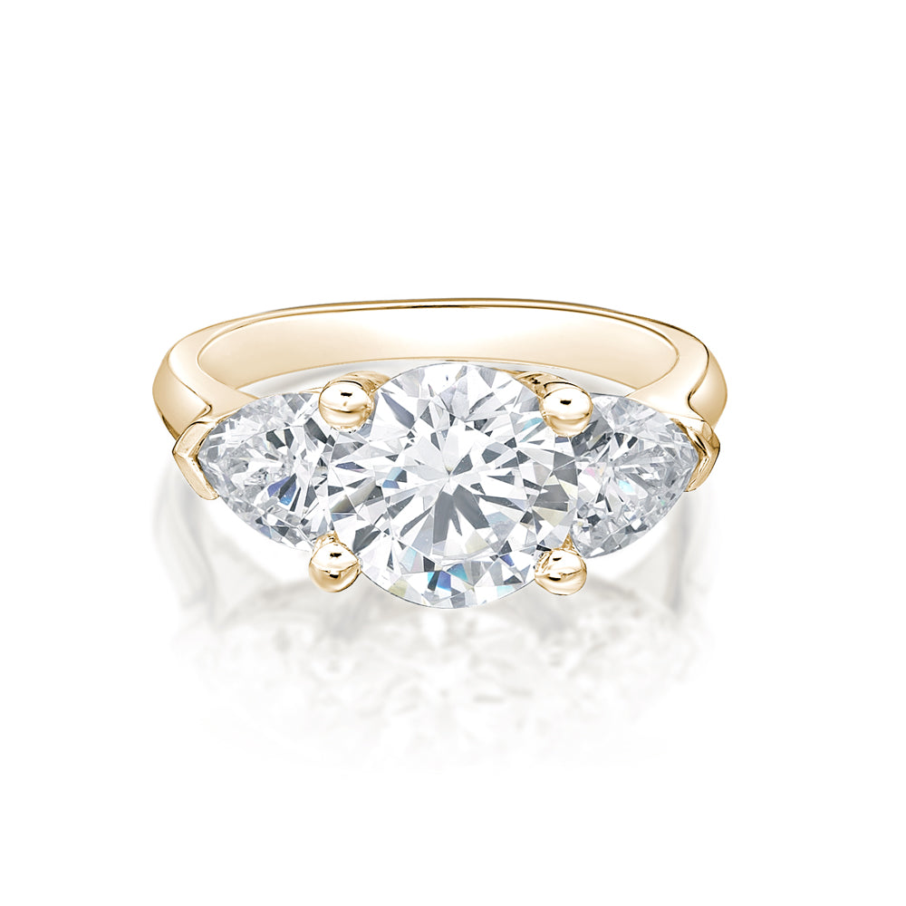 Round & Cushion Trilliant 3 Stone Ring in Yellow Gold