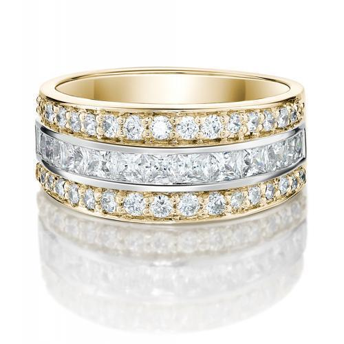 Round Brilliant and Princess Channel Set in Yellow Gold w/ White Gold Setting