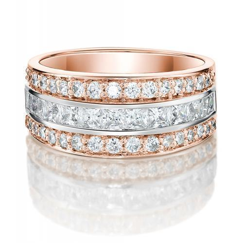 Round Brilliant and Princess Channel Set in Rose Gold w/ White Gold Setting