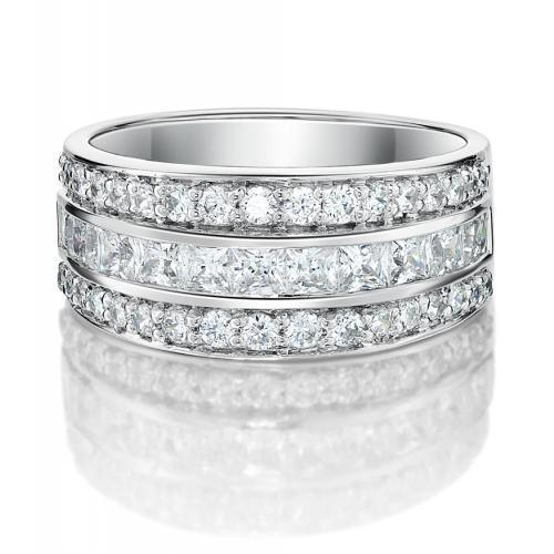 Round Brilliant and Princess Channel Set in White Gold