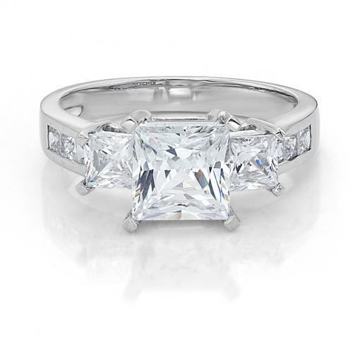 Three Stone Princess Cut Ring with Side Stones in White Gold