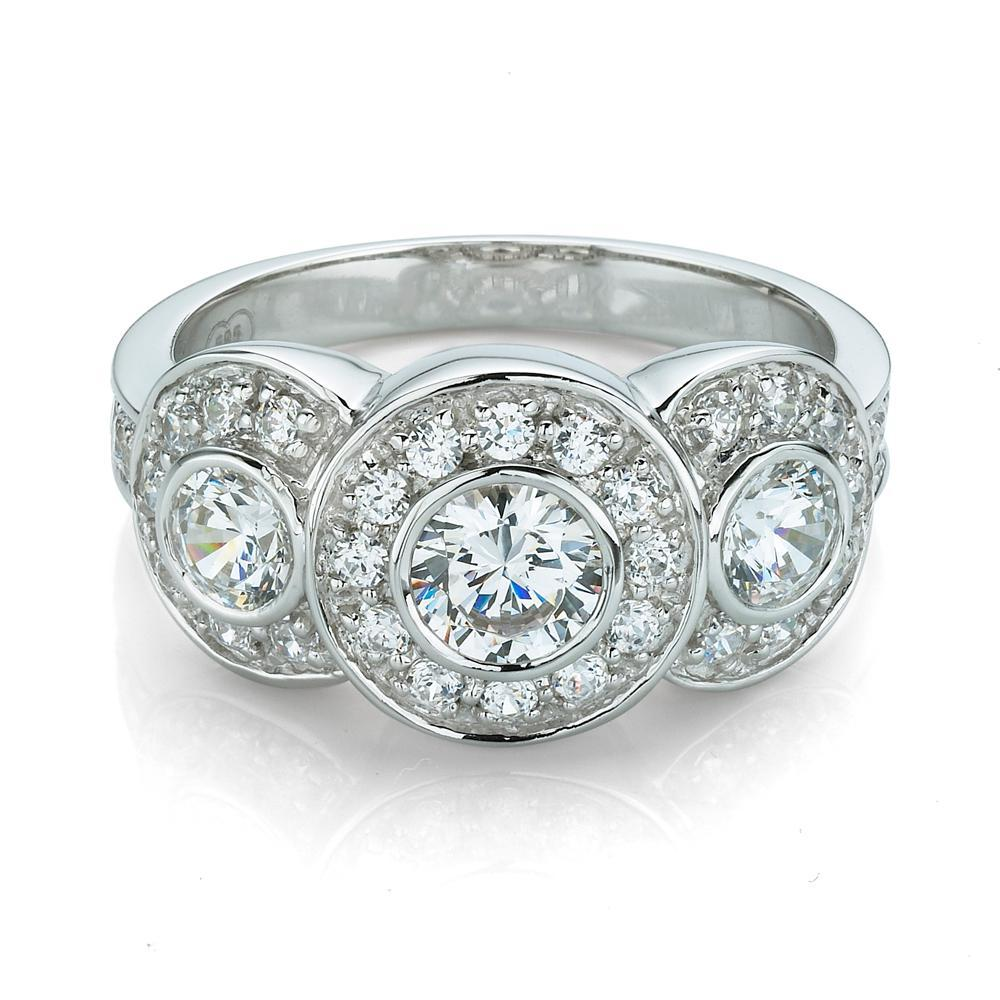 3 Stone Bezel & Grain Set Dress Ring in White Gold