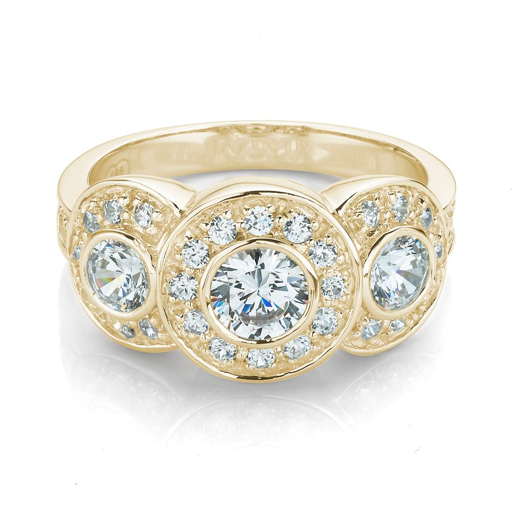 3 Stone Bezel & Grain Set Dress Ring in Yellow Gold