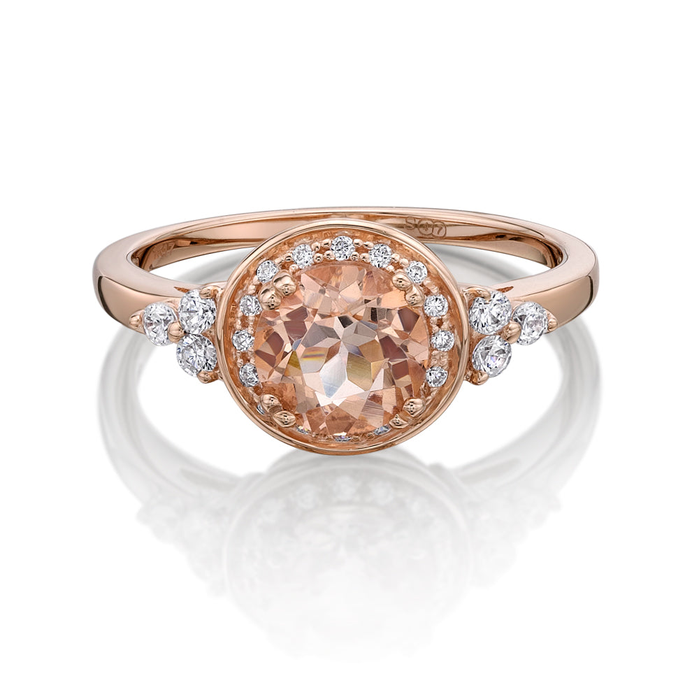 Decorative Round Brilliant Claw Ring - Morganite Colour in Rose Gold