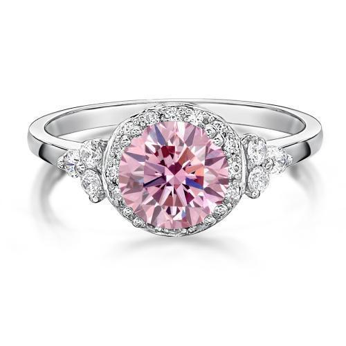Decorative Round Brilliant Claw Ring - Pink Diamond Simulant in White Gold
