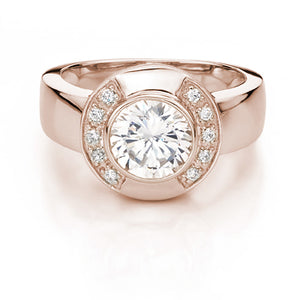 Elegant Brilliant Cut Dress Ring in Rose Gold