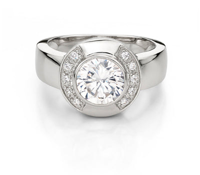 Elegant Brilliant Cut Dress Ring in White Gold