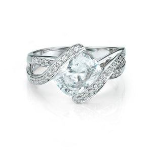 Cushion Cut Grain Set Twist Ring in White Gold