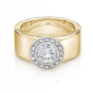 Wide Band Bezel Ring in Yellow Gold w/ White Gold Setting