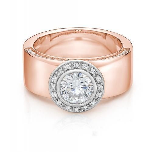 Wide Band Bezel Ring in Rose Gold with White Gold Setting