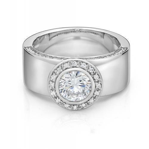 Wide Band Bezel Ring in White Gold