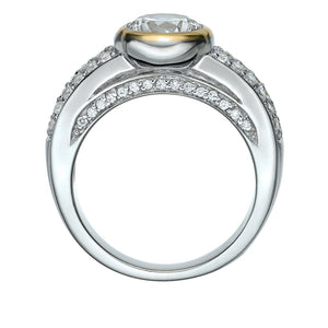 Synergy Pave and Bezel Dress Ring in Sterling Silver w/ Yellow Gold