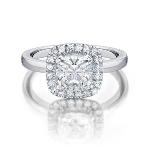 Cushion Cut Engagement Ring in White Gold