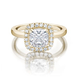 Cushion Cut Engagement Ring in Yellow Gold