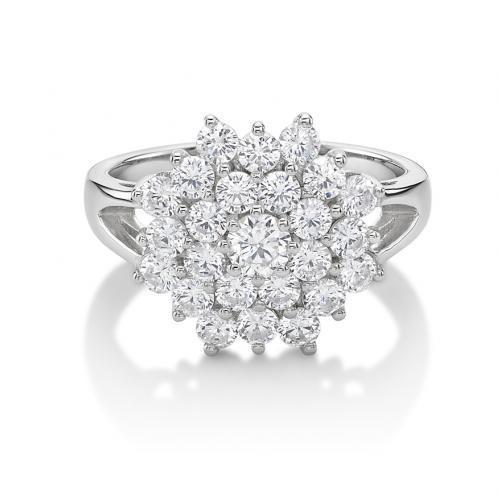 Round Brilliant Cut Cluster Ring in White Gold