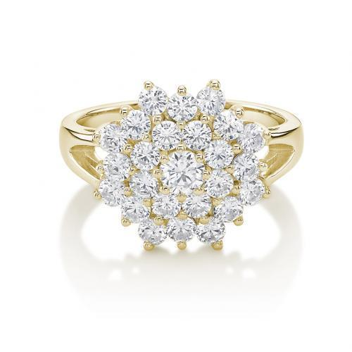 Round Brilliant Cut Cluster Ring in Yellow Gold