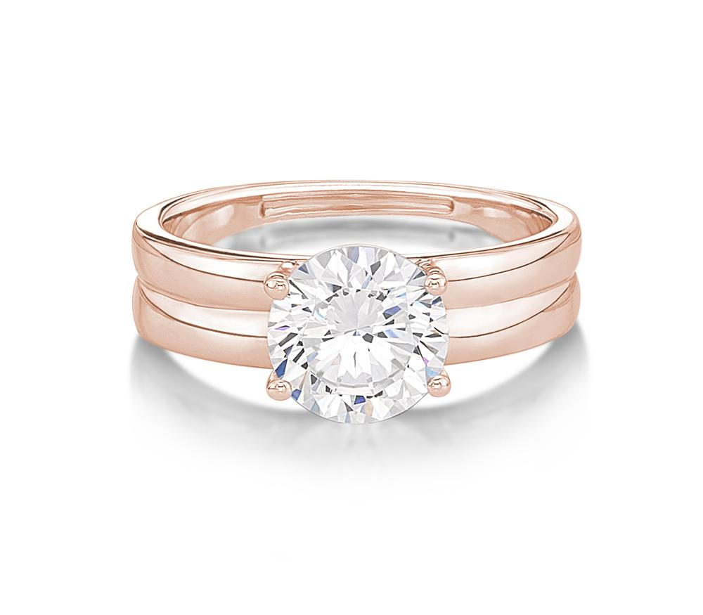 Double Band Brilliant Cut Solitaire Engagement Ring in Rose Gold