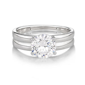 Double Band Brilliant Cut Solitaire Engagement Ring in White Gold