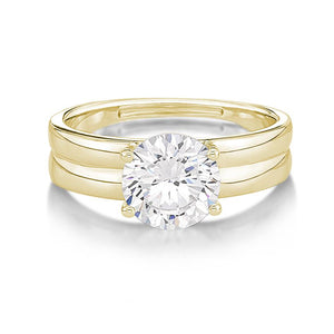 Double Band Brilliant Cut Solitaire Engagement Ring in Yellow Gold