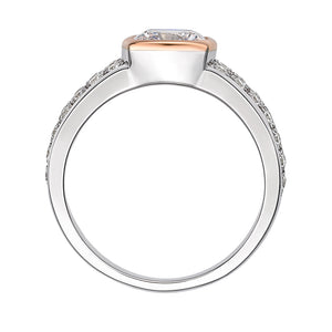 Synergy Cushion Cut Pave Ring in Sterling Silver with Rose Gold