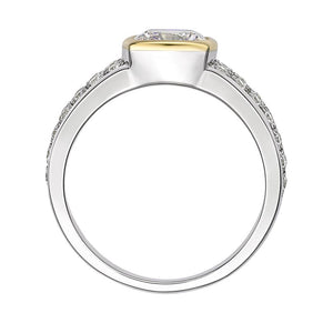 Synergy Cushion Cut Pave Ring in Sterling Silver w/ Yellow Gold