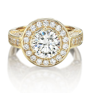 Bezel and Claw Set Round Brilliant Dress Ring in Yellow Gold