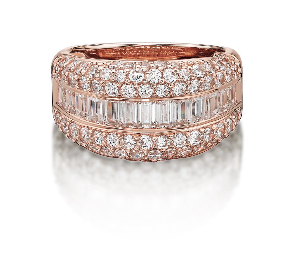 Pave and Channel Set Round and Baguette Ring in Rose Gold
