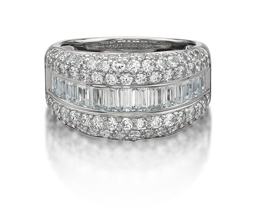 Pave and Channel Set Round and Baguette Ring in White Gold