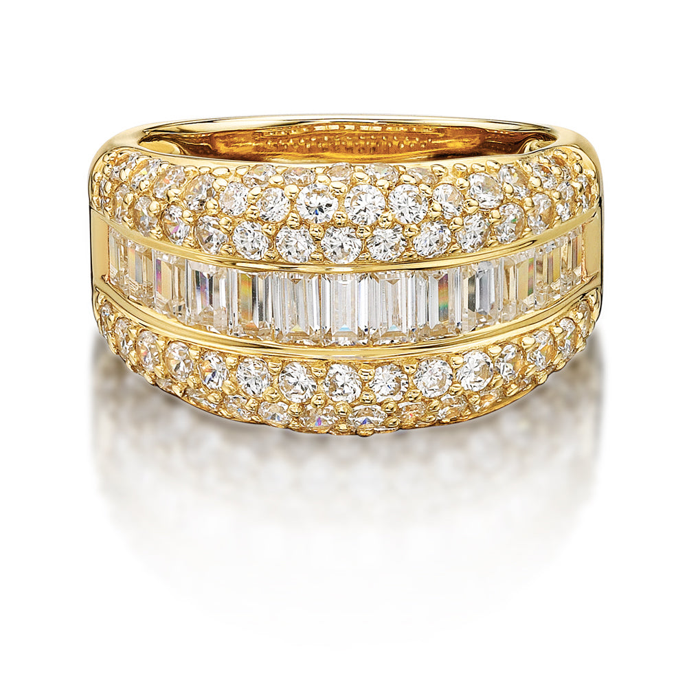 Pave and Channel Set Round and Baguette Ring in Yellow Gold