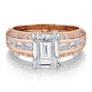 Emerald and Baguette Cut Channel Set Ring in Rose Gold w/ White Gold Setting