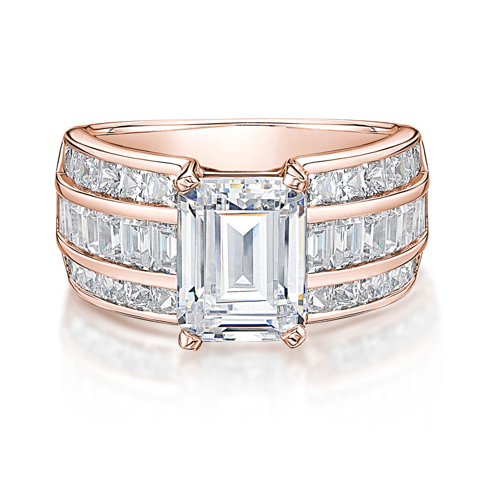 Emerald and Princess Cut Channel Set Ring in Rose Gold
