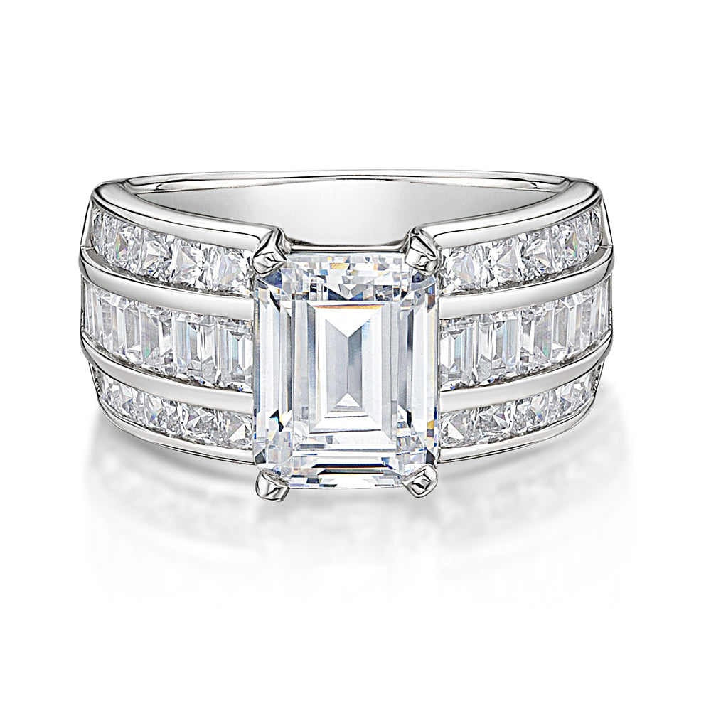 Emerald and Princess Cut Channel Set Ring in White Gold