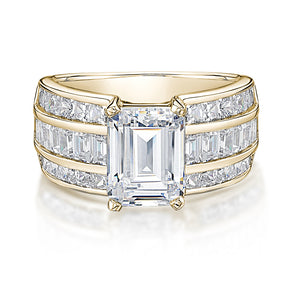Emerald and Princess Cut Channel Set Ring in Yellow Gold