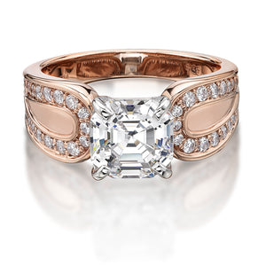 Asscher and Round Brilliant Cut Claw Set Dress Ring in Rose Gold w/ White Gold Setting