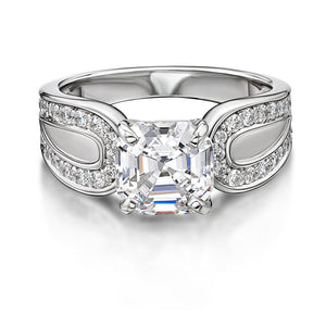 Asscher and Round Brilliant Cut Claw Set Dress Ring in White Gold