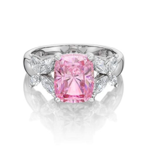 Cushion Radiant and Marquise Cut Claw Set Dress Ring - Pink Colour in White Gold