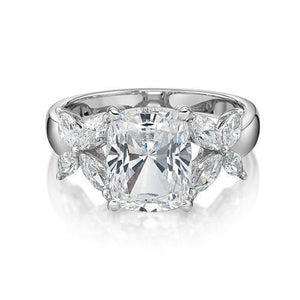 Cushion Radiant and Marquise Cut Claw Set Dress Ring in White Gold