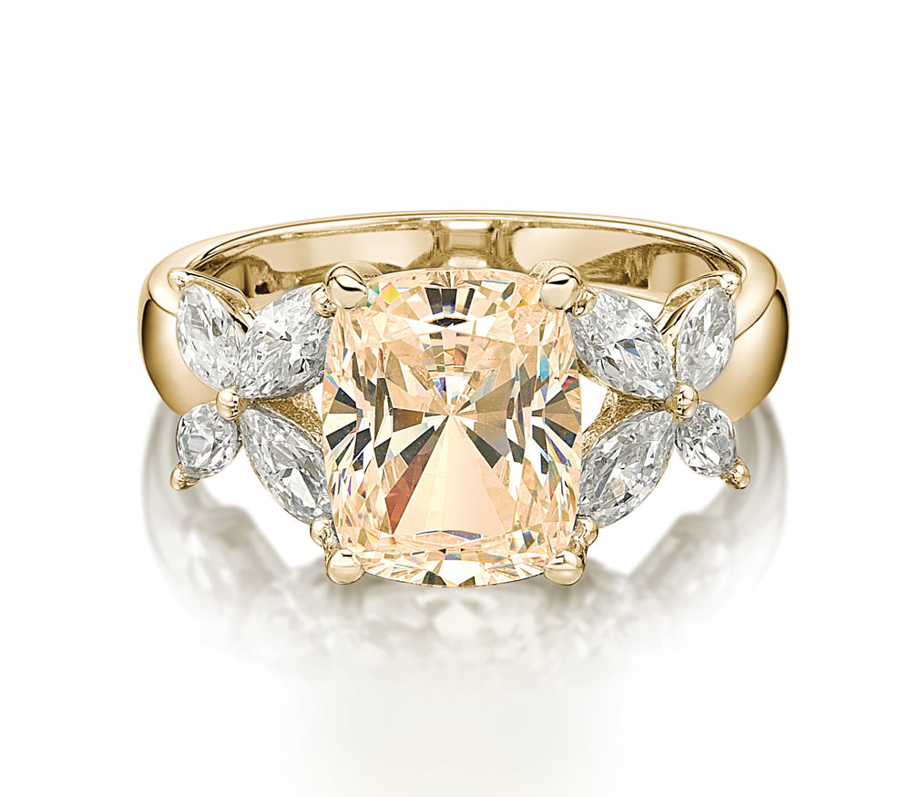 Cushion Radiant and Marquise Cut Claw Set Dress Ring - Champagne Colour in Yellow Gold