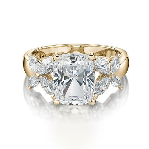 Cushion Radiant and Marquise Cut Claw Set Dress Ring in Yellow Gold