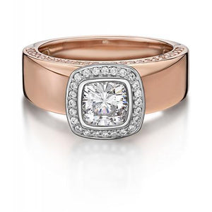 Cushion and Round Brilliant Cut Bezel Set Dress Ring in Rose Gold w/ White Gold Setting