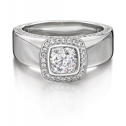 Cushion and Round Brilliant Cut Bezel Set Dress Ring in White Gold